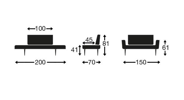 Die Grafik des Schlafsofas Sterling