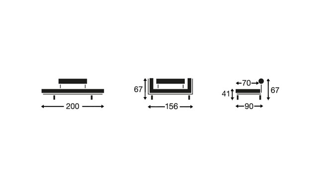 Die Maße und die Abmessungen des Schlafsofas Steward