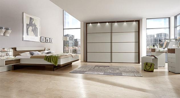 schlafzimmer als komplette 6 teilige einrichtung creme patiala. Black Bedroom Furniture Sets. Home Design Ideas