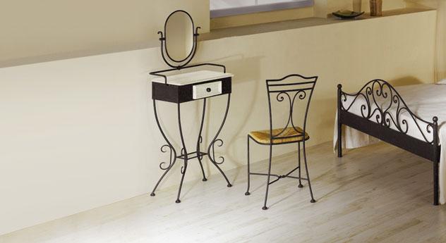 schminktisch aus schmiedeeisen im set mit stuhl loria. Black Bedroom Furniture Sets. Home Design Ideas