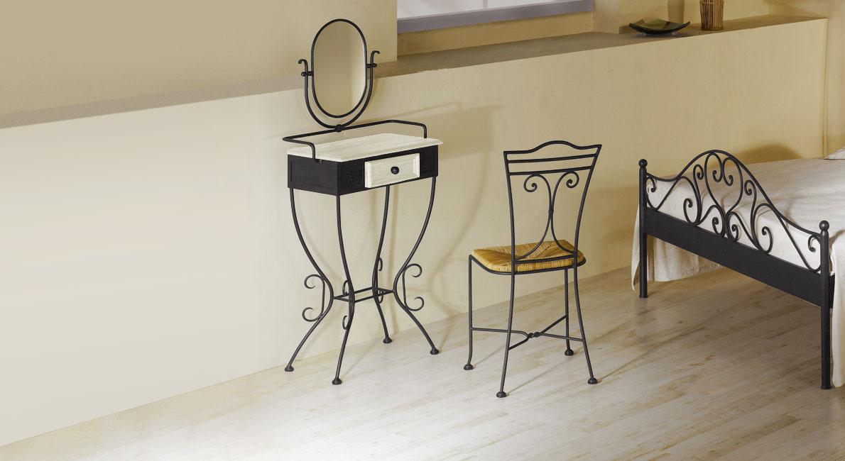 schminktisch aus hochwertigem schmiedeeisen loria. Black Bedroom Furniture Sets. Home Design Ideas