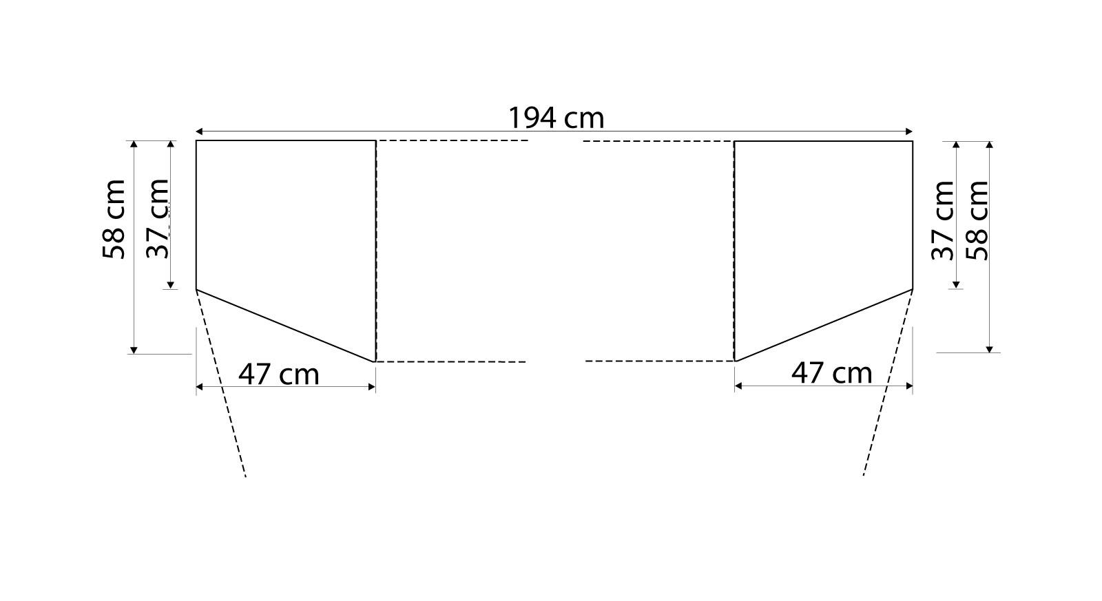 Grafik Schrank-Kommode Dabola mit ergänzendem Abschlusselement