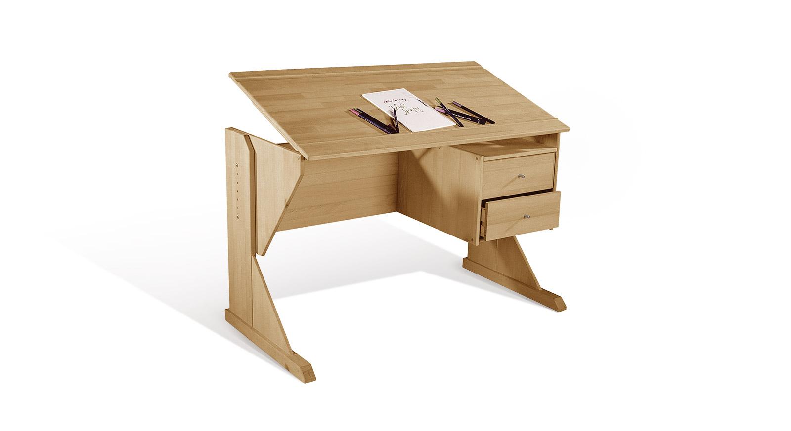 Schreibtisch aus buche h henverstellbar kippbar kids for Buchenholz schreibtisch