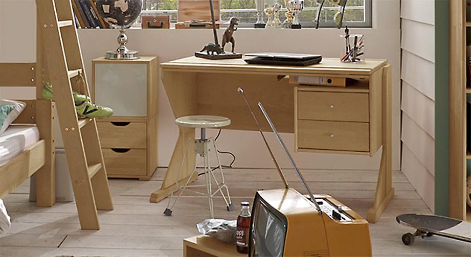 Schreibtisch Kids Fantasy aus Buchenholz mit zwei Schubladen