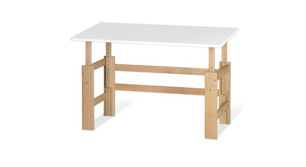 Höhenverstellbarer Schreibtisch Kids Town in Buche und MDF weiß