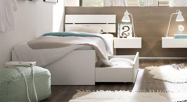 Schubkasten-Bett Mocuba aus weißer Buche