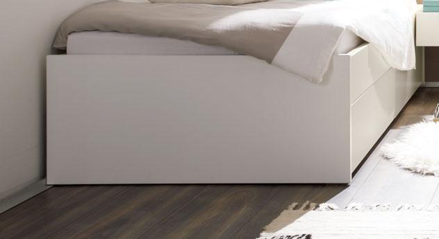 Fußteil vom Schubkasten-Bett Mocuba aus Echtholz