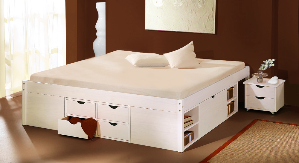 Schubkasten-Doppelbett Göteborg weiß lackiert