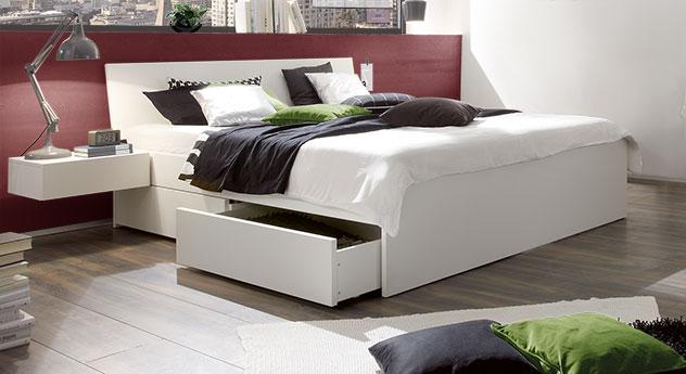 Modernes Schubkasten-Doppelbett Liverpool in Weiß