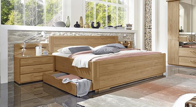 Schubkasten-Doppelbett Narita aus teilmassivem Erlenholz