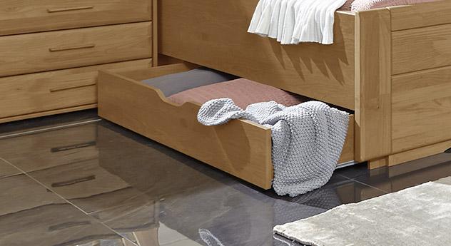 Schubkasten-Doppelbett Narita mit geräumiger Schublade