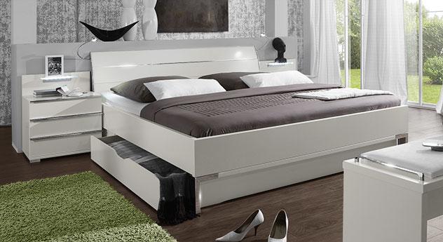 Schubkasten-Doppelbett Salford in weißem Dekor