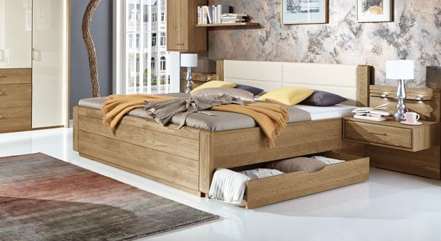 Teilmassives Schubkasten-Doppelbett Toride aus Eiche natur