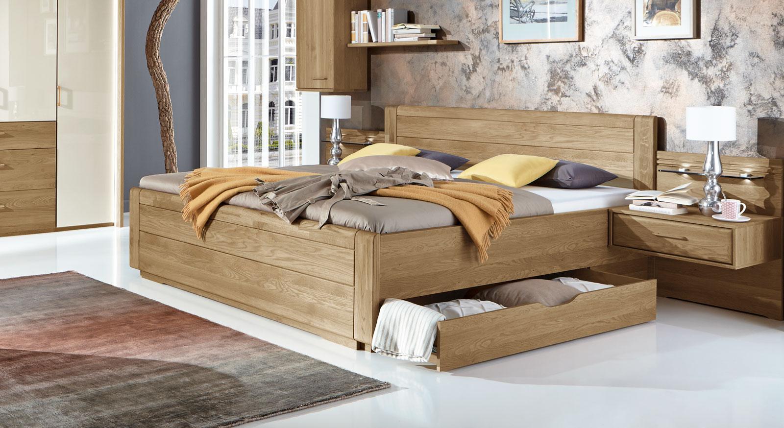 doppelbett teilmassiv in komforth he mit zwei schubladen. Black Bedroom Furniture Sets. Home Design Ideas