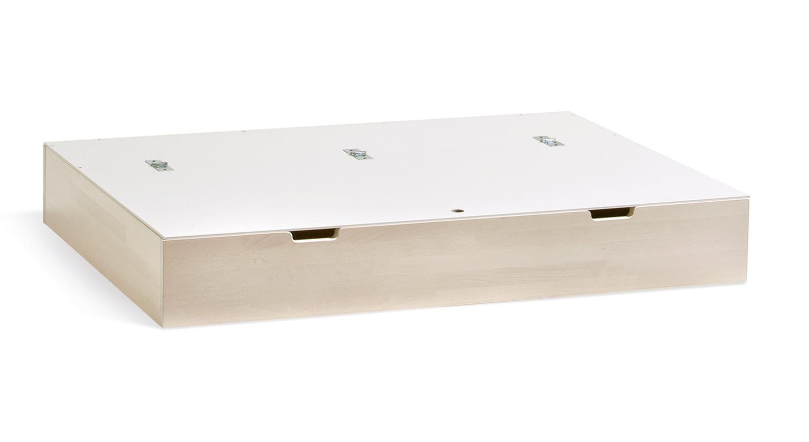 Bett-Schubkasten Palma in weiß mit MDF-Deckel