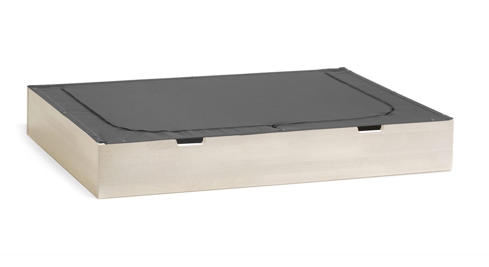Bett-Schubkasten Palma in weiß mit Stoff-Deckel