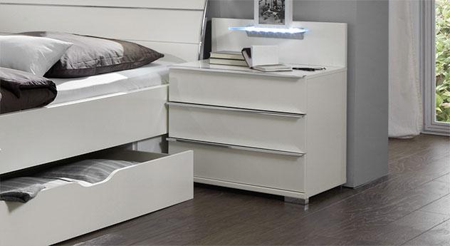 Schubladen-Nachttisch Salford in weißem Dekor