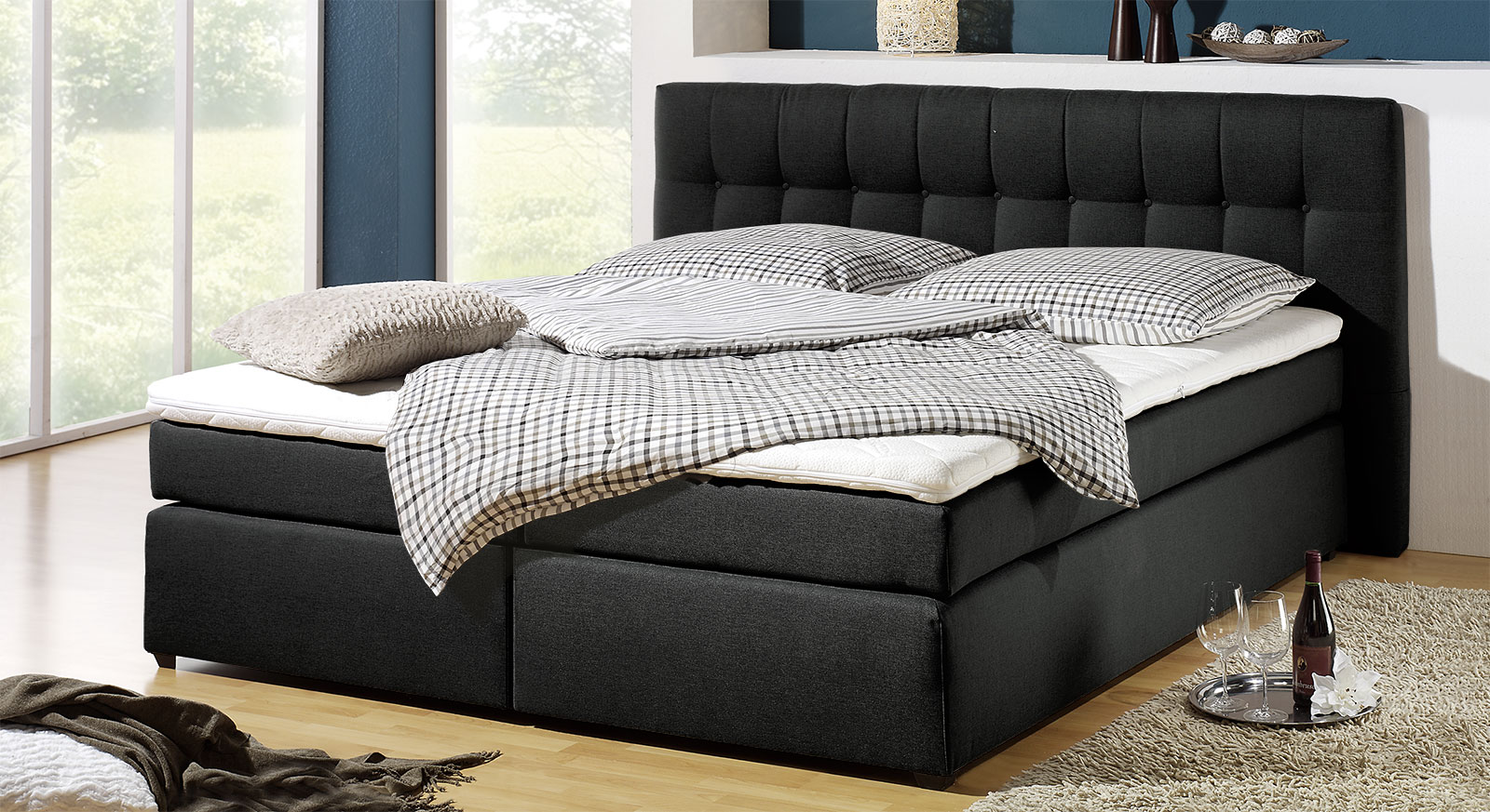 boxspringbett in h3 bis 130kg k rpergewicht chicago. Black Bedroom Furniture Sets. Home Design Ideas