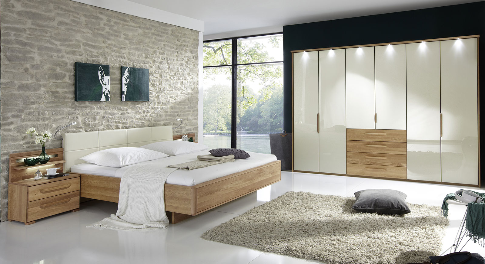 komplett schlafzimmer mit eiche und glas morley magnolie. Black Bedroom Furniture Sets. Home Design Ideas
