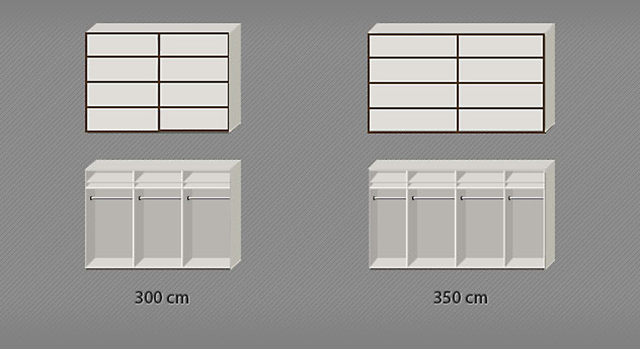 Einteilung des Schwebetüren-Kleiderschranks in den 300er Breiten