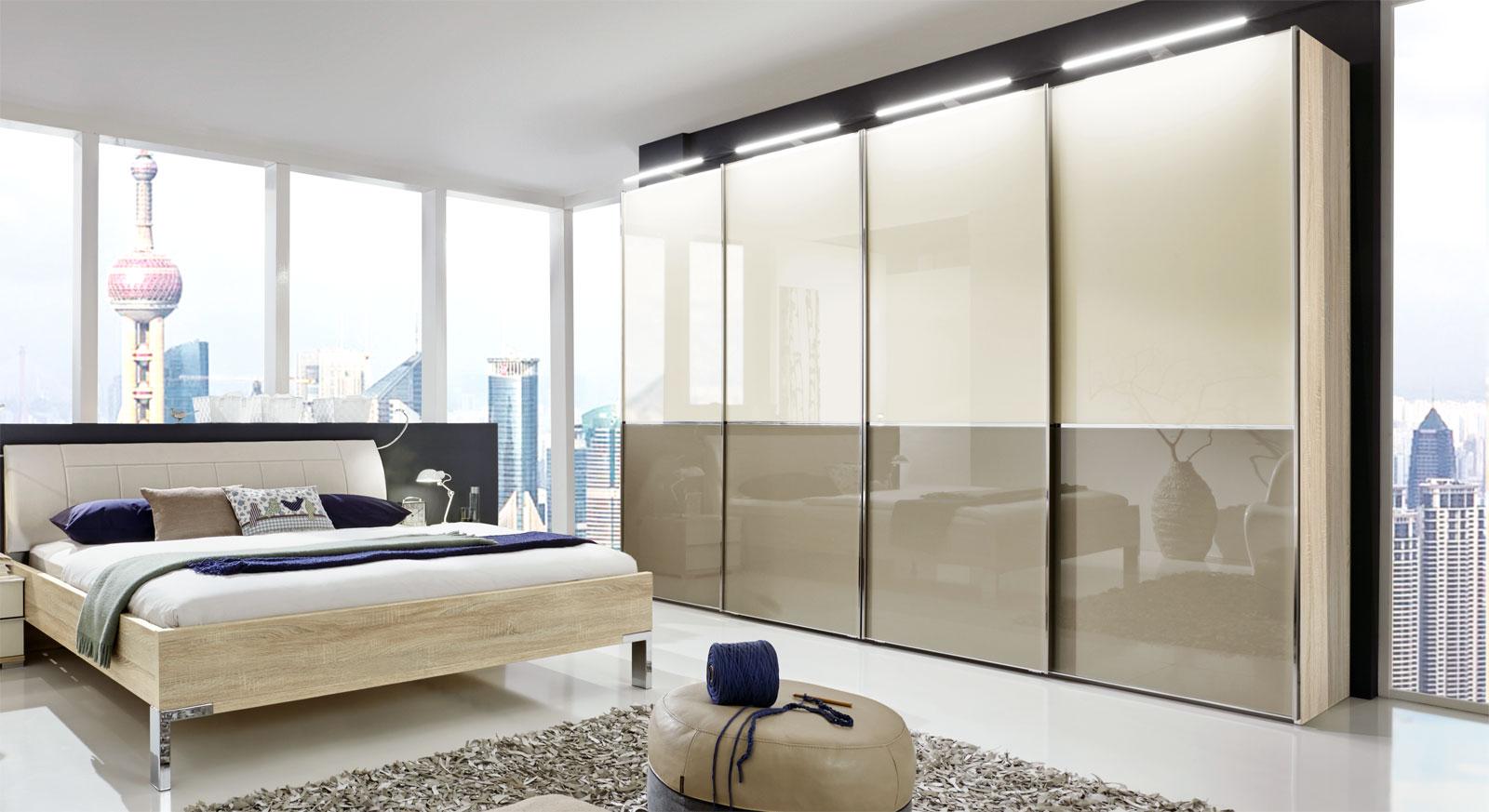 schwebeturenschrank design, schwebetürenschrank in dekor mit glasfront 2 bis 4 türig - banga, Design ideen