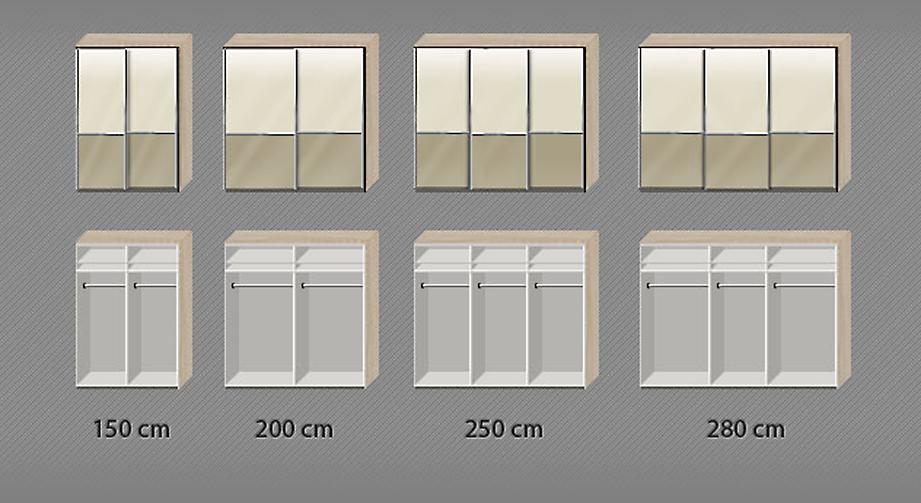 Einteilung des Innenraums des Schwebetüren-Kleiderschranks Banga
