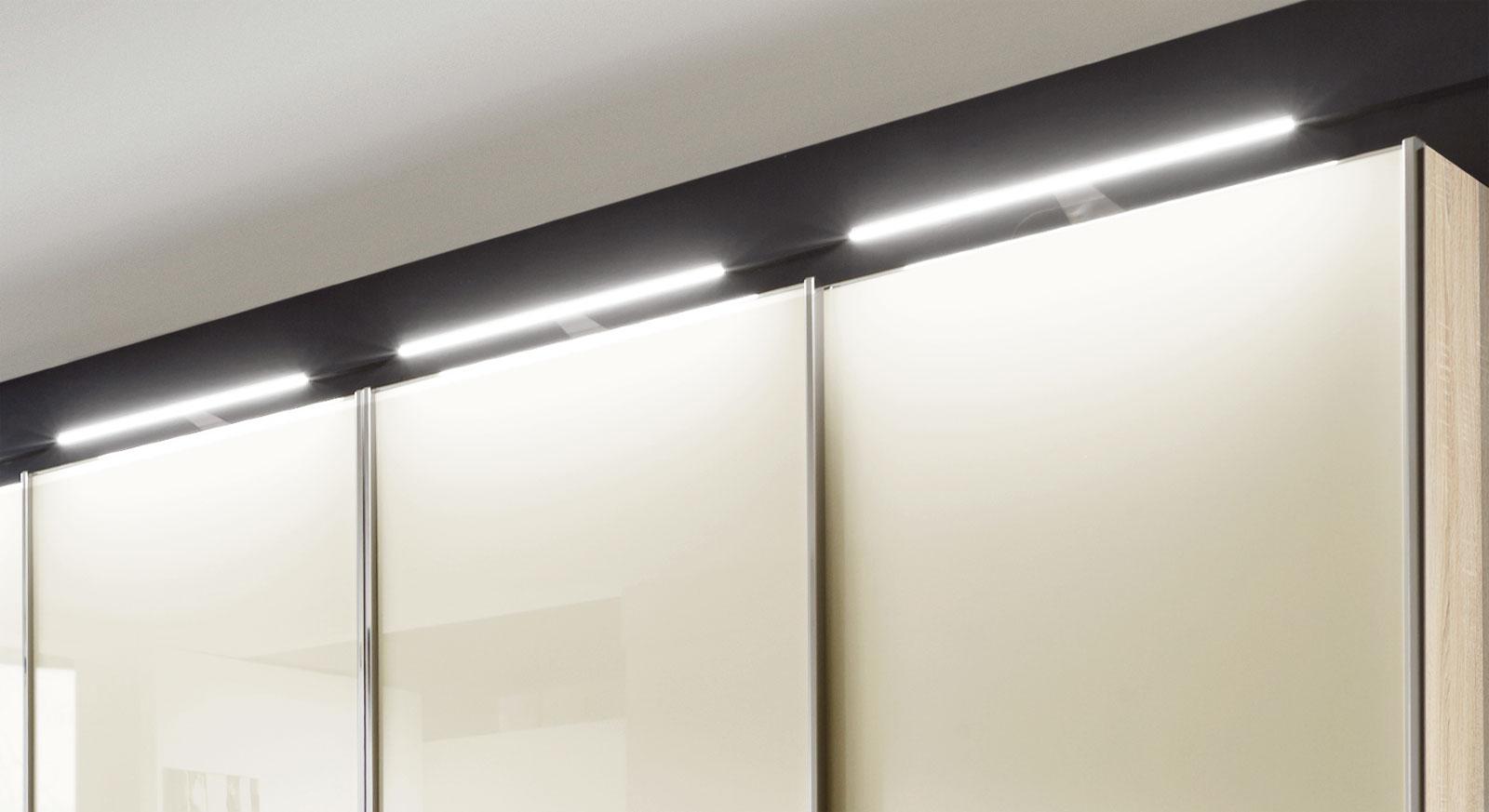 Schwebetüren-Kleiderschrank Banga mit LED-Aufsatzleuchten