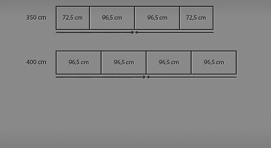350 und 40 cm Breitenansicht zum Schwebetüren-Kleiderschrank Baria