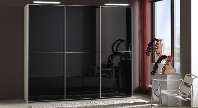 Schwebetüren-Kleiderschrank Madison Schwarz-Glas Albinweiß-Dekor