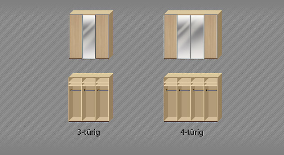 Innenaufteilung des Schwebetüren-Kleiderschranks Quebo
