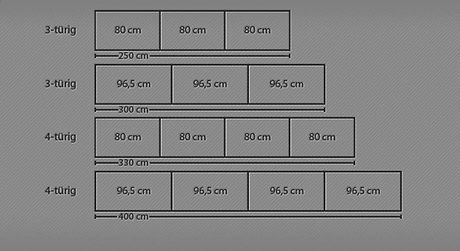 Schwebetüren-Kleiderschrank Quebo in verschiedenen Breiten
