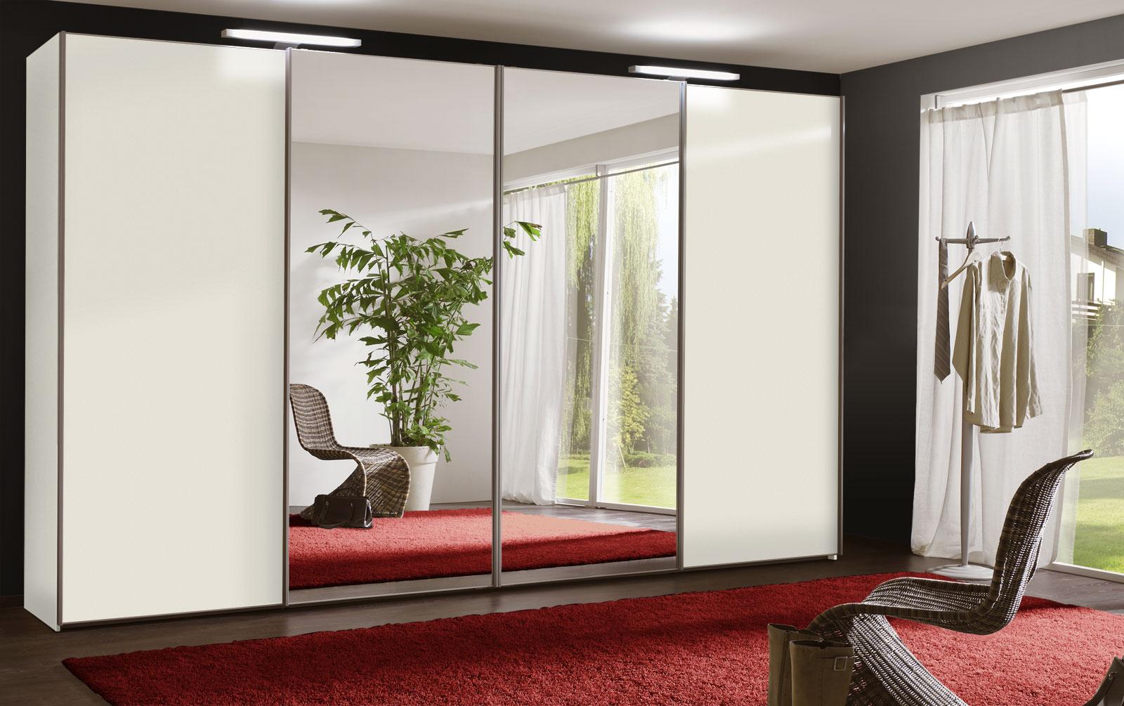 Kleiderschrank weiß schwarz mit spiegel  Schwebetüren-Kleiderschrank mit Spiegel - Schrank Sudbury