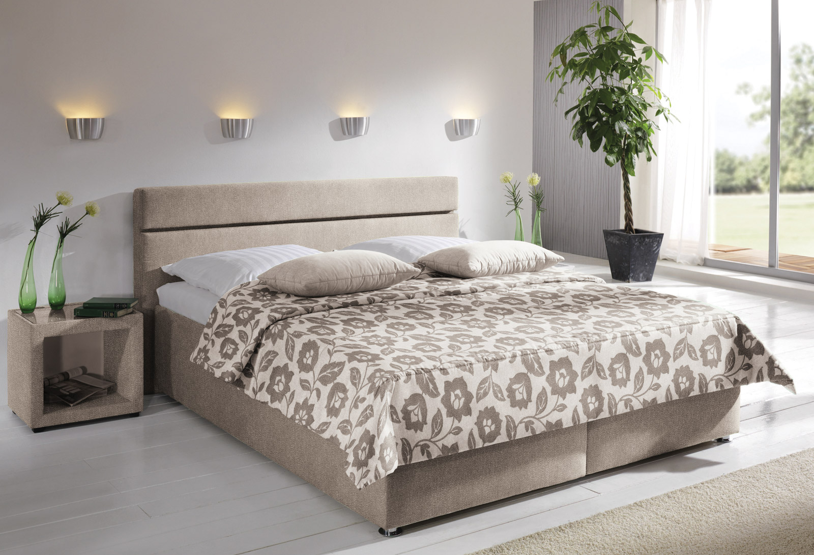 polsterbett severo hochwertig beige und in bergr en. Black Bedroom Furniture Sets. Home Design Ideas