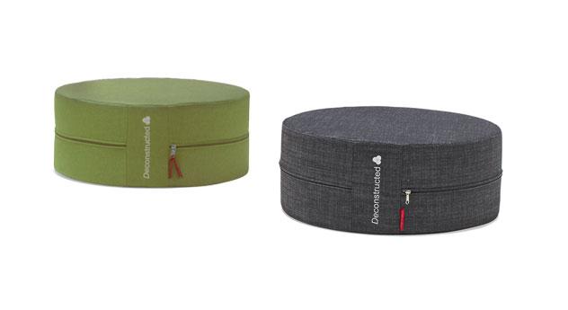 Sitzhocker in Flashtex grün und graphite