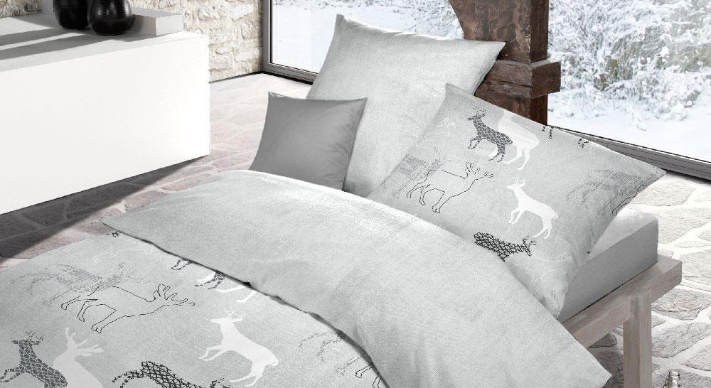 Temperaturausgleichende Soft-Touch-Cotton-Bettwäsche Wintertime in Grau