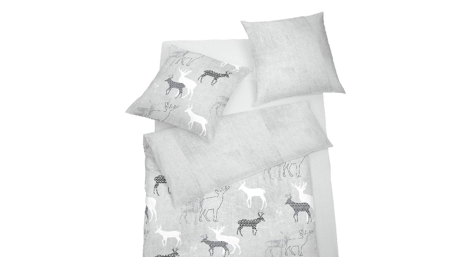 Soft-Touch-Cotton-Bettwäsche Wintertime mit modernem Rentiermotiv