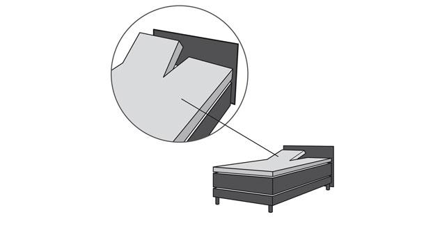 Spannbetttuch für ein Boxspringbett-Split-Topper mit Kopfteileinschnitt