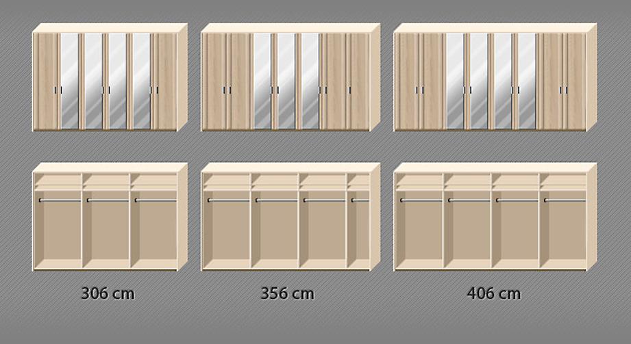 Spiegel-Drehtüren-Kleiderschrank Farim mit komfortabler Innenausstattung