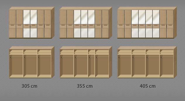 Innenausstattung des Spiegel-Drehtüren-Kleiderschranks Fria bis zur 8-türigen Variante