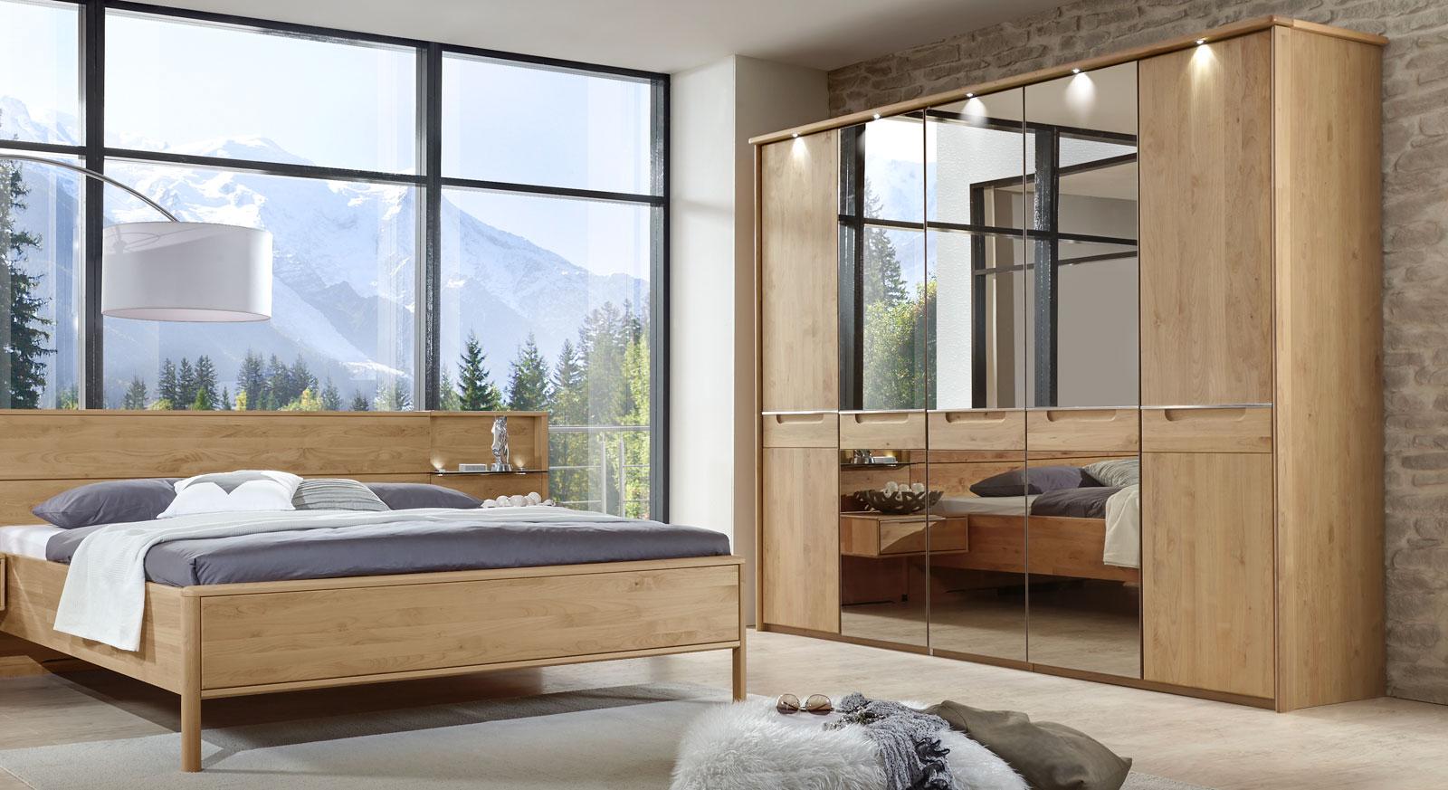 Spiegel-Drehtüren-Kleiderschrank Fria mit LED-Beleuchtung