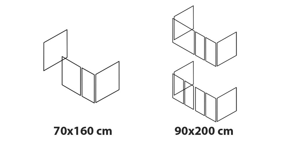 Darstellung vom Spielvorhang bei Betten in 70x160 und 90x200 cm