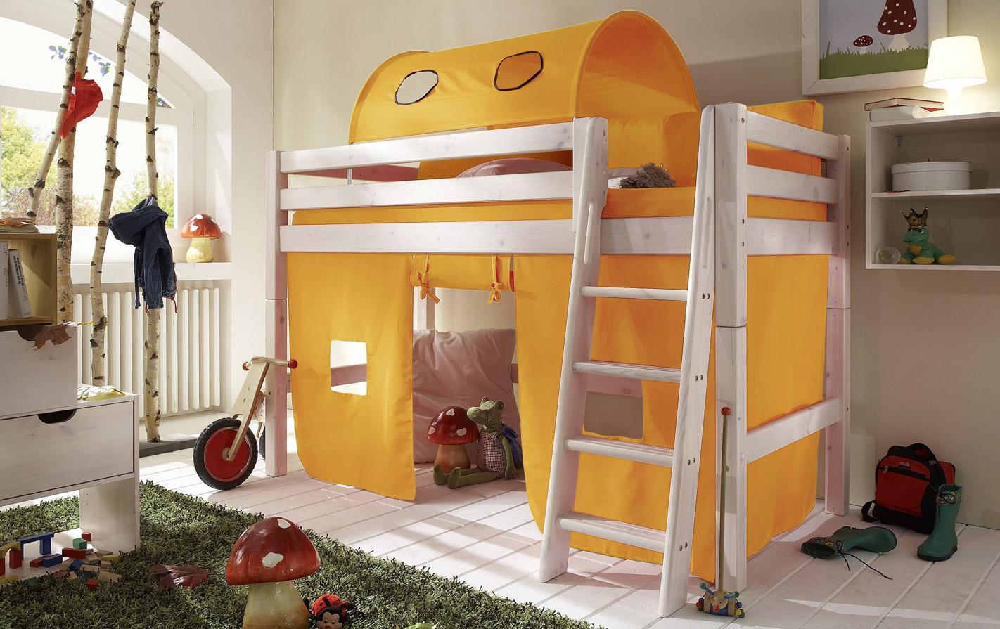 Gelber Spielvorhang Mini-Hochbett in unifarben