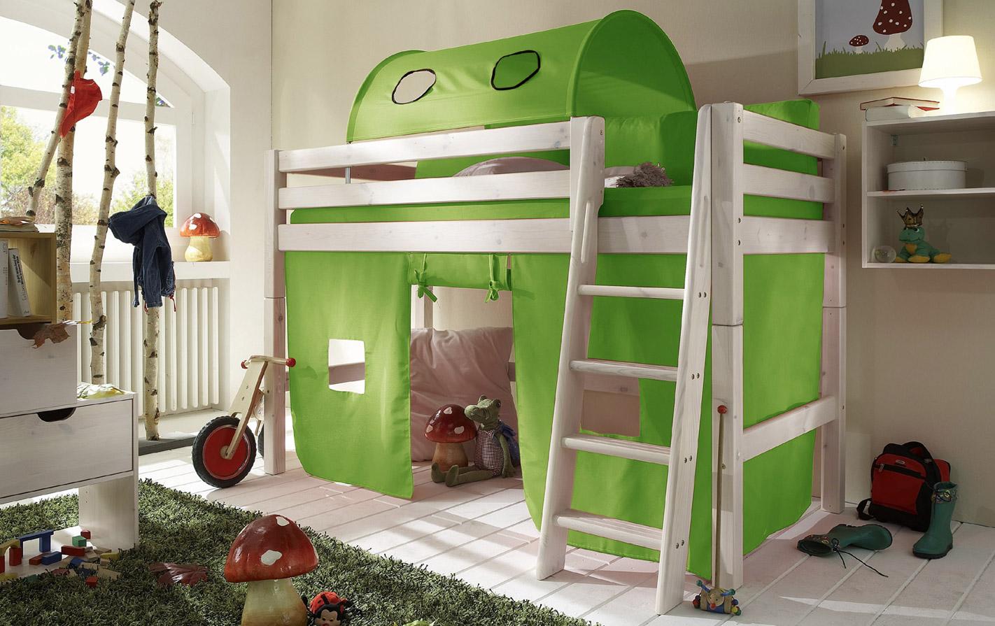 Limefarbener Spielvorhang Mini-Hochbett in unifarben