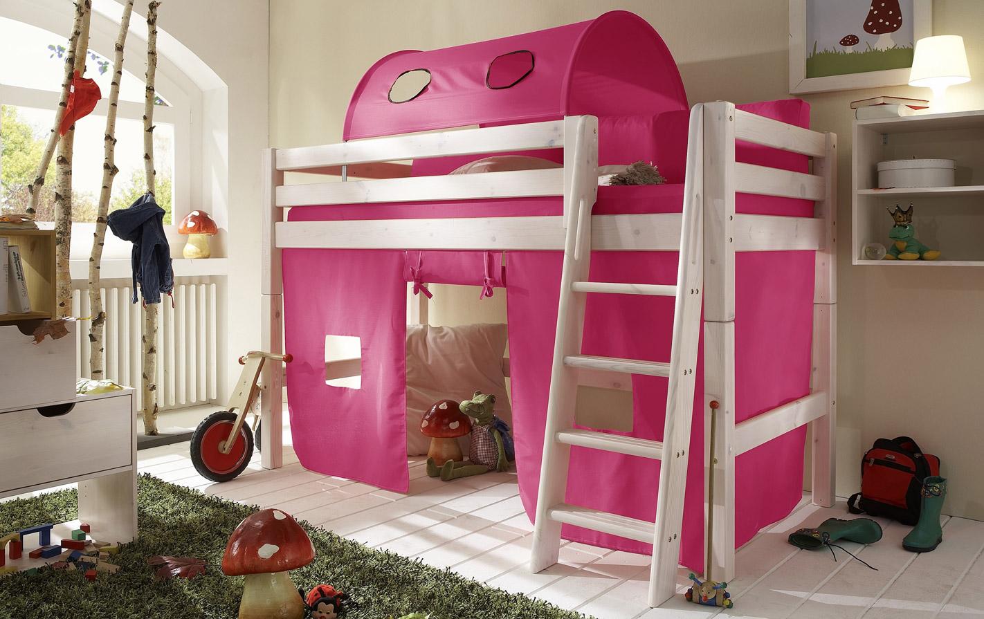 Pinker Spielvorhang Mini-Hochbett in unifarben
