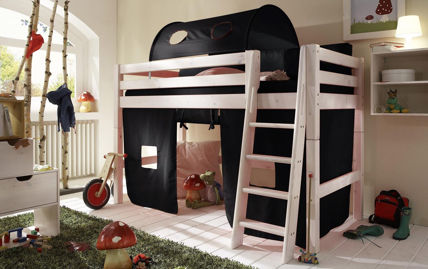 Schwarzer Spielvorhang Mini-Hochbett in unifarben