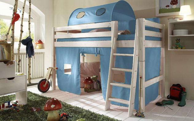 Spielvorhang Kids Paradise für Midi-Betten in uni hellblau