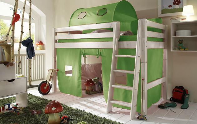 Spielvorhang Kids Paradise für Midi-Betten in uni lime