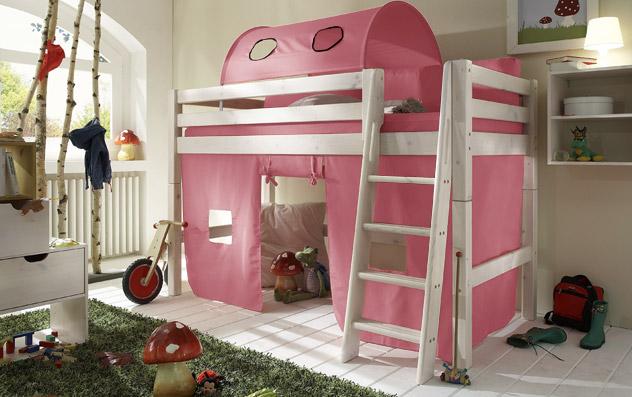 Spielvorhang Kids Paradise für Midi-Betten in uni rosa