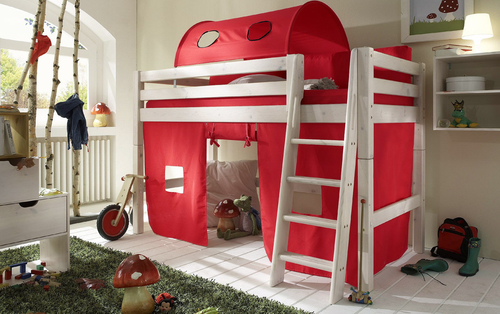 Spielvorhang Midi-Hochbett Kids Paradise Rot