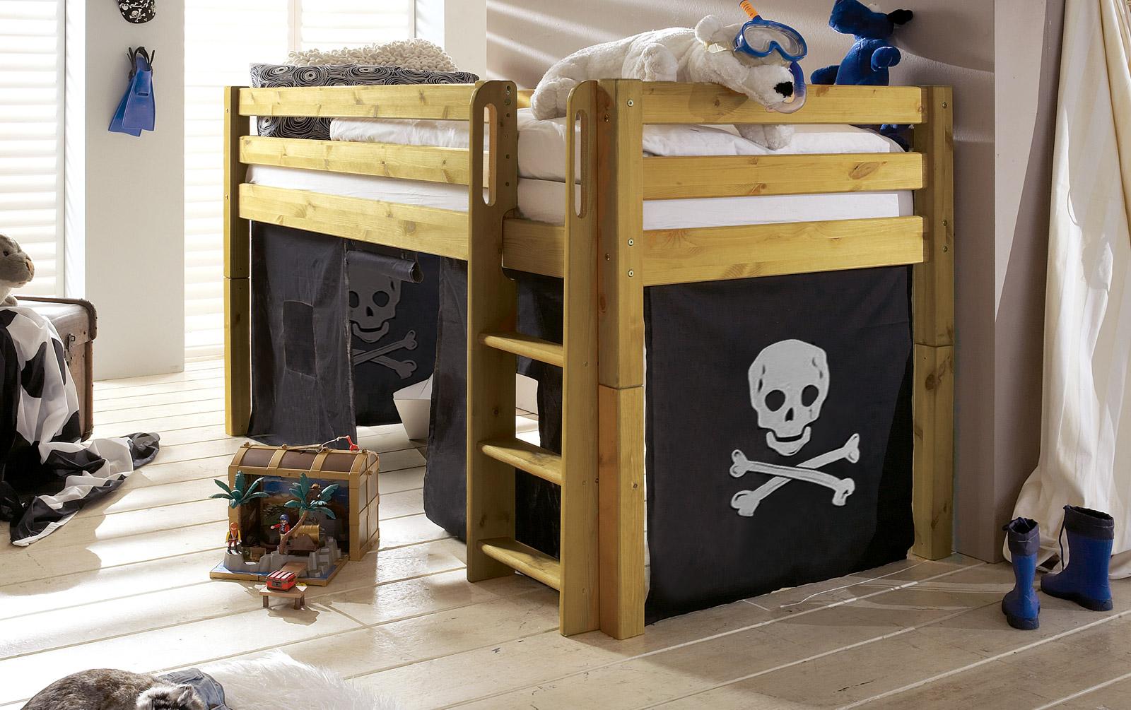 Spielvorhang Kids Paradise für Midi-Betten mit Piraten-Motiv
